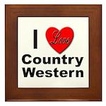 I Love Country Western Framed Tile