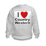 I Love Country Western (Front) Kids Sweatshirt