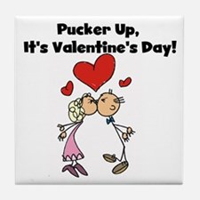 Pucker Up Valentine Tile Coaster