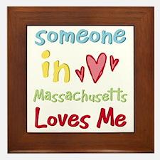 Someone in Massachusetts Loves Me Framed Tile