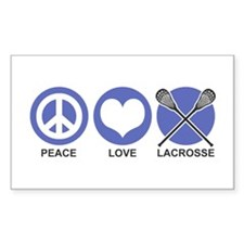 Peace Love Lacrosse Rectangle Decal