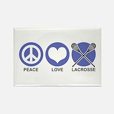 Peace Love Lacrosse Rectangle Magnet