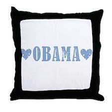 Obama Blue Hearts: Throw Pillow