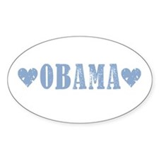 Obama Blue Hearts: Oval Decal