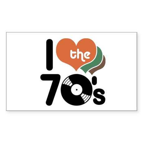 I Love the 70's Rectangle Sticker
