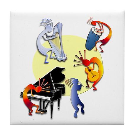 Five Kokopelli Band Tile Coaster