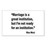 Mae West Marriage Quote Rectangle Sticker 10 pk)