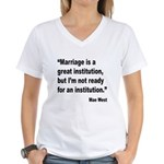 Mae West Marriage Quote (Front) Women's V-Neck T-S