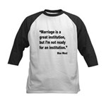 Mae West Marriage Quote Kids Baseball Jersey