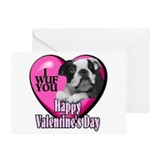 Boston Terrier V-Day Greeting Card
