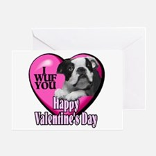 Boston Terrier V-Day Greeting Card