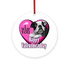 Boston Terrier V-Day Ornament (Round)