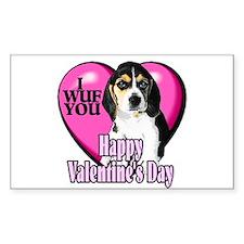 Beagle Valentines Rectangle Sticker 10 pk)