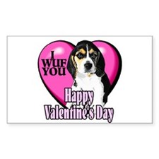 Beagle Valentines Rectangle Sticker 50 pk)