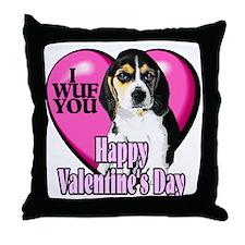 Beagle Valentines Throw Pillow