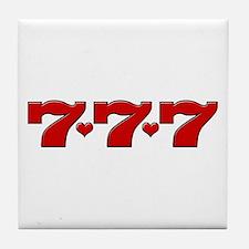 777 Hearts Tile Coaster