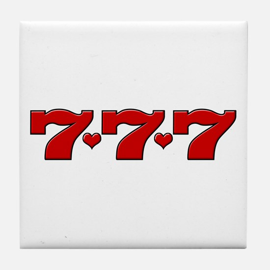 777 Hearts Tile Coaster