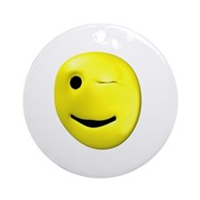 Yellow Winking Smiley Ornament (Round)