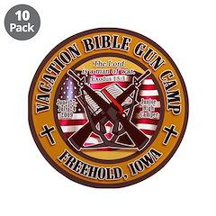 """Bible Gun Camp 2009 3.5"""" Button (10 pack)"""