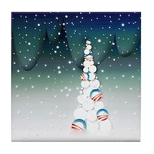 Barack Obama Christmas Tree Tile Coaster (Green)