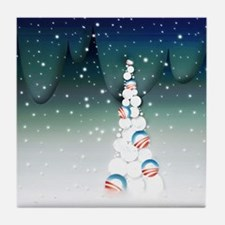 Barack Obama Christmas Tree Tile Coaster (Green)