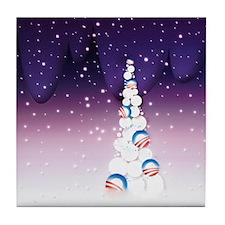 Barack Obama Christmas Tree Tile Coaster (Purple)