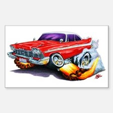1958-59 Fury Red Car Rectangle Decal