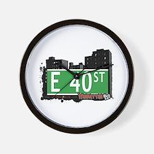 E 40 STREET, MANHATTAN, NYC Wall Clock