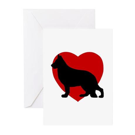 German Shepherd Valentine's Day Greeting Cards (Pk