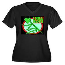 I KILL BOYS Women's Plus Size V-Neck Dark T-Shirt