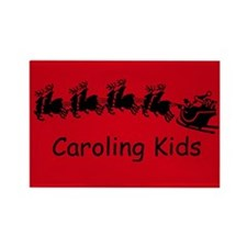 Red Caroling Kids Rectangle Magnet