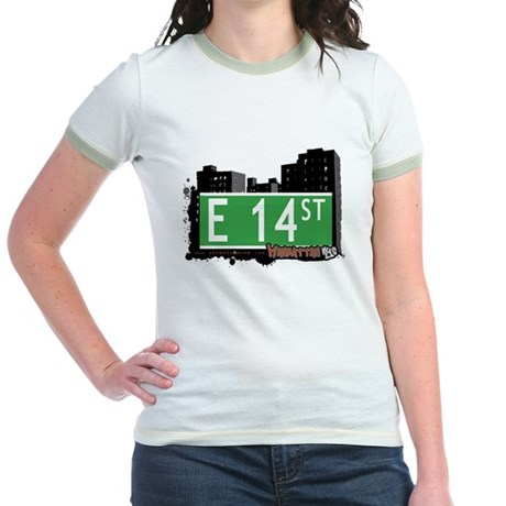 E 14 STREET, MANHATTAN, NYC Jr. Ringer T-Shirt