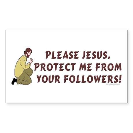 Please Jesus, protect me from Sticker (Rectangular