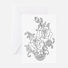 Duo of Roses Color Your Own Greeting Cards (Packag