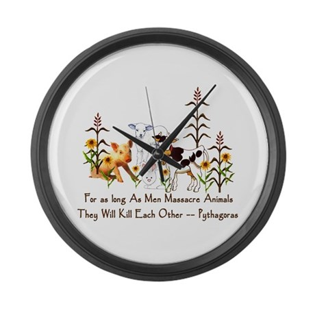 Pythagoras Vegetarian Quote Large Wall Clock