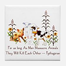 Pythagoras Vegetarian Quote Tile Coaster