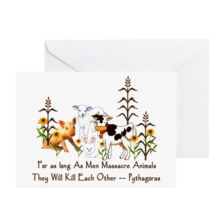 Pythagoras Vegetarian Quote Greeting Cards (Pk of