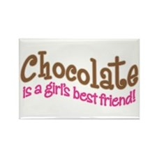 CHOCOLATE IS GIRL'S BEST FRIEND Magnets (10)