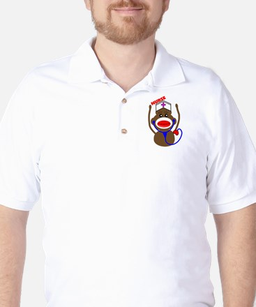 Nurse Sock Monkey Golf Shirt
