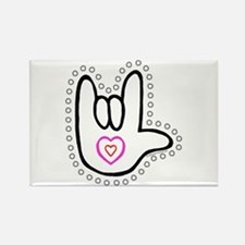 B/W Bold Love Hand Rectangle Magnet