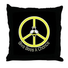 Give Bees A Chance Dark Throw Pillow