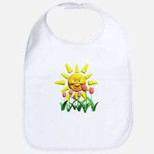 Yellow Sun Smiley With Flowers Bib