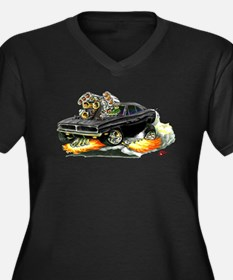 Dodge Charger Black Car Women's Plus Size V-Neck D