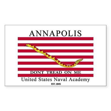 USNA Don't Tread on Me Rectangle Sticker