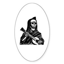 Calavera con Gitarra Oval Decal