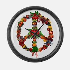 Veggie Peace Sign Large Wall Clock