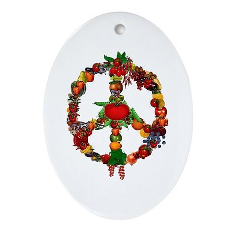Veggie Peace Sign Ornament (Oval)