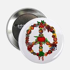 """Veggie Peace Sign 2.25"""" Button"""