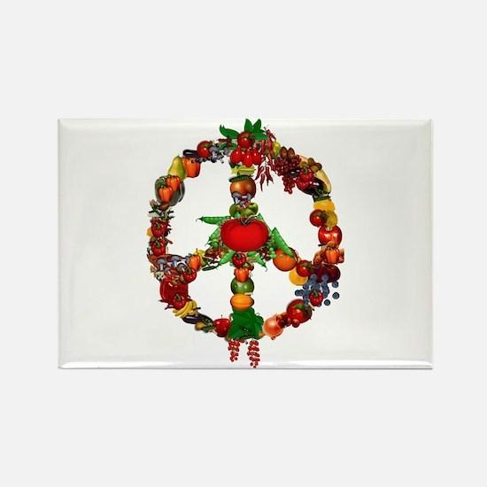 Veggie Peace Sign Rectangle Magnet