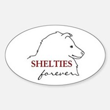 Shelties Forever Oval Decal